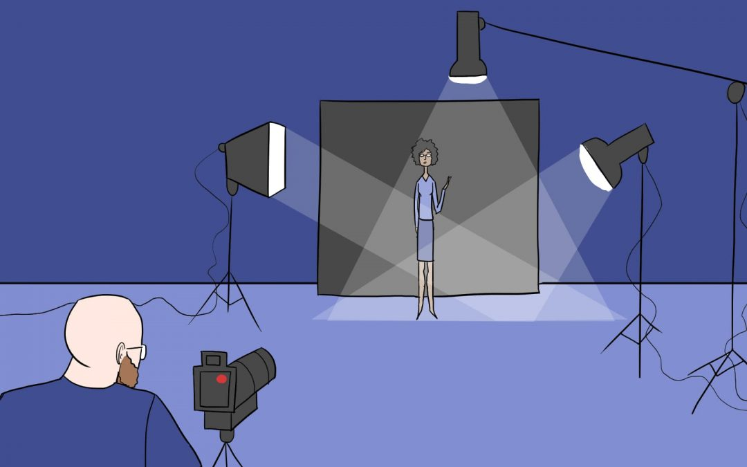 illustration of subject with lights and camera on her with video technician.